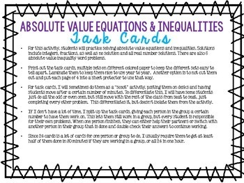 Solving with Absolute Value Review Task Cards