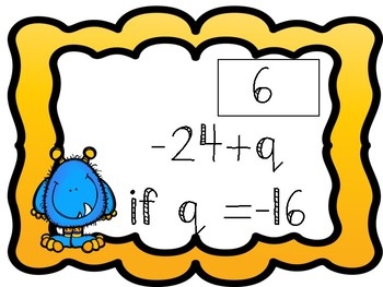 **Algebraic Expressions w/ Integers Task Cards w/Recording Sheet & Answer Key**