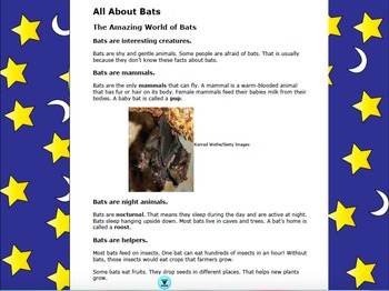 """""""All About Bat"""" Flipchart, Covering Informational Text and Vocabulary"""
