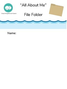 """Back to School """"All About Me"""" File Folder"""