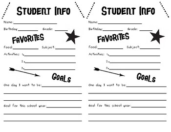 """""""All About Me"""" First Day of School Worksheet"""