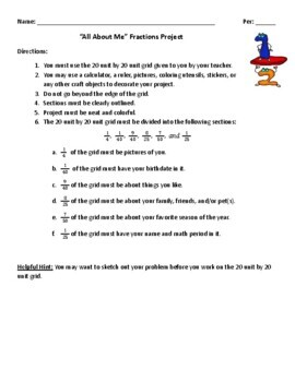 """""""All About Me"""" Fractions Project"""