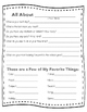 """All About Me"" Get to Know Your Students Worksheet"
