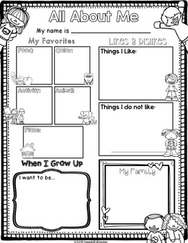 "Back to School Free ""All About Me"" Interview Page Differentiated Fill-in Options"