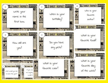*All About Me* Task Cards (Harry Potter)