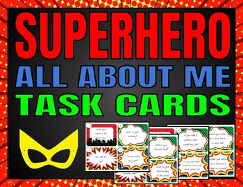 *All About Me* Task Cards (Superhero)