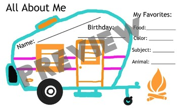 """""""All About Me"""", camping theme"""