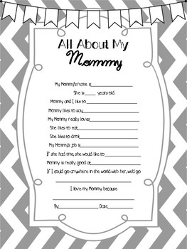 """""""All About My"""" Questionnaire for Kids Mother's Day/Father's Day"""
