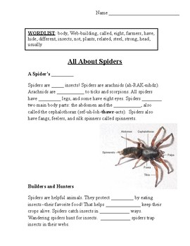 """All About Spiders"" CLOZE Passage with Questions"