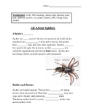 """""""All About Spiders"""" CLOZE Passage with Questions"""