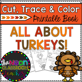 """All About Turkeys"" Cut, Trace & Color Printable Book!"