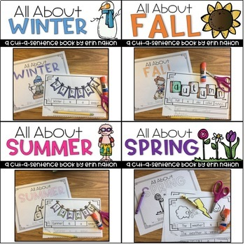 """All About the Seasons"" 4 cut-a-sentence books"