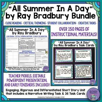 """All Summer in A Day"" by Ray Bradbury Bundle-Close Reading Unit and Task Cards"