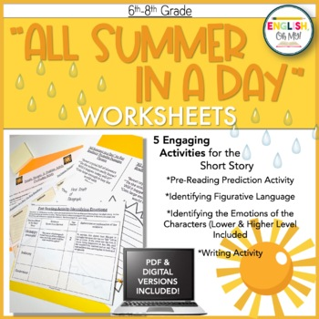 All Summer in a Day, Ray Bradbury-Activity Pack-Worksheets, Activities, Writing