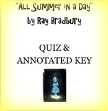 """All Summer in a Day"" Multiple Choice Quiz and Annotated Key"
