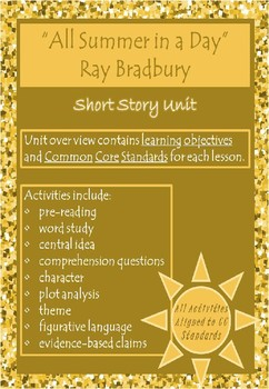 """""""All Summer in a Day"""" Short Story Unit"""