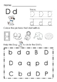 (Alphabets) Finding Letter D d and Pictures Printable