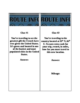 """""""Amazing Race"""" Cards - Geography"""