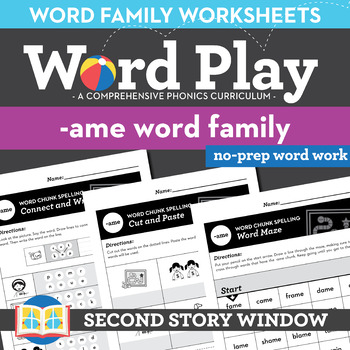 -Ame Word Family Worksheets No Prep Long Vowel A Chunk Spelling