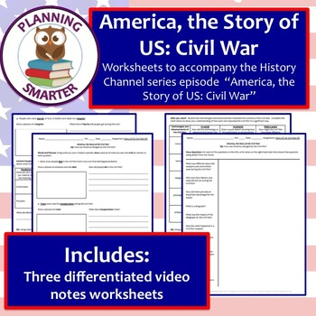 America The Story Of Us Civil War Three Differentiated Worksheets