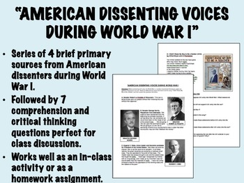 """American Dissenting Voices During World War I"" - Global/World/APUSH/USH"