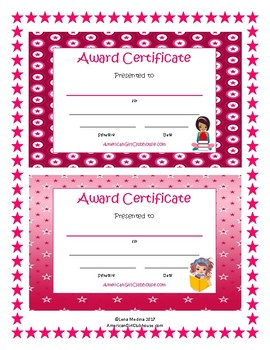 """""""American Girl Clubhouse"""" Printable Certificates"""