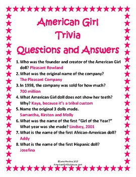 """American Girl Clubhouse"" Trivia Unit"