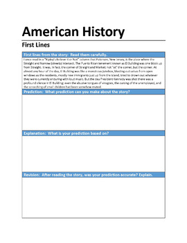 """American History"" First Lines Pre-reading Activity"