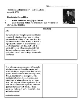 """American Independence"" by Samuel Adams: Close Reading Organizer"