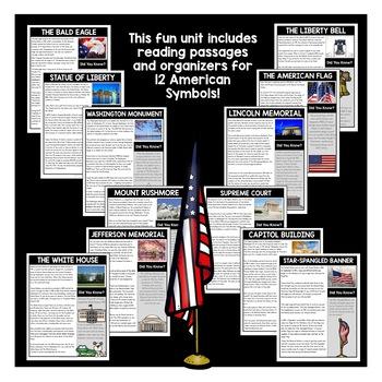 American Symbols Complete Unit with Washington, Lincoln, Jefferson, Roosevelt