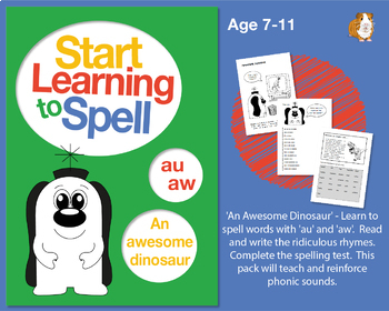 'An Awesome Dinosaur' Spell Words With 'au' and 'aw': Learn To Spell With Phonic