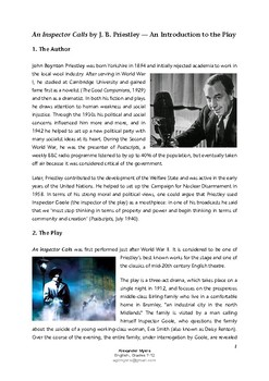 'An Inspector Calls' - An Introduction to the Play (author biography, context)