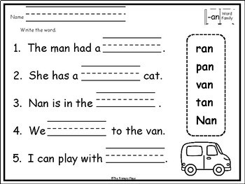 -An Word Family Printable Worksheets