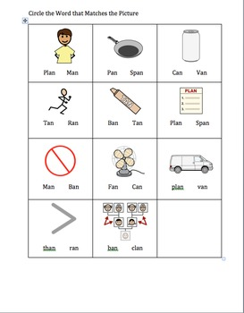 """An"" Word Family Worksheet"