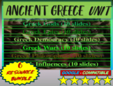 Ancient Greece Unit ALL 6 PARTS- visual, interactive 60-slide PPT w guided notes