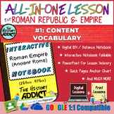 ⭐Ancient Rome Vocabulary Lesson Interactive Notebook & Dis