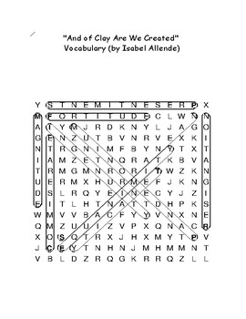 """""""And of Clay Are We Created"""" Story Word Search With Definitions Isabel Allende"""
