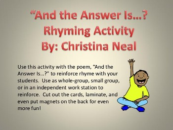 """""""And the Answer Is...?"""" Rhyming Activity"""