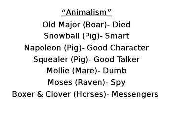 """""""Animalism"""" Character Reference List"""