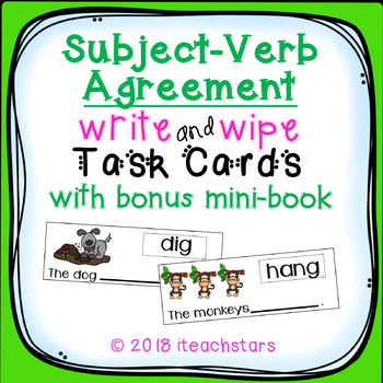 Animals: Subject-Verb Agreement Write and Wipe Task Cards