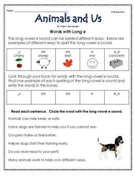 """""""Animals and Us"""" Activities for Guided Reading & Writing"""