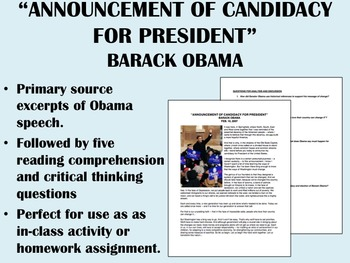 """""""Announcement for Candidacy"""" - Barack Obama - US History/APUSH"""