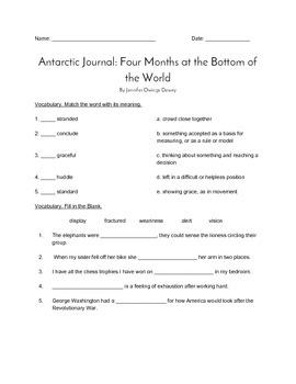 """""""Antarctic Journal"""" QUIZ (Journeys Grade Four Reader)"""