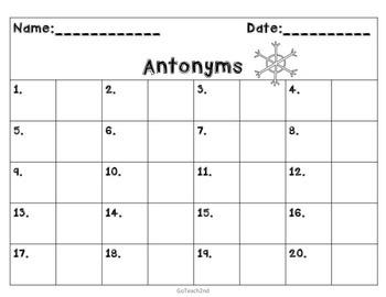 Antonyms Task Cards or Grammar Center or Scoot Game -40 cards