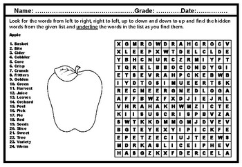 'Apple' Word Search Puzzle Worksheet, Fall Vocabulary, No Prep Sub Plan