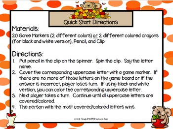 """Apple-bet"" Match:  NO PREP Autumn Letter Match Game"