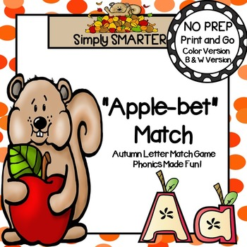 """Apple-bet"" Match:  NO PREP Autumn Letter Match Game"