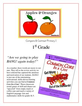 """""""Apples & Oranges"""" Compare & Contrast 1st Grade Common Core Game Packet"""