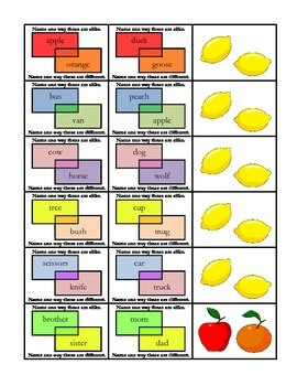 """""""Apples & Oranges"""" Compare & Contrast 2nd Grade Common Core Packet"""