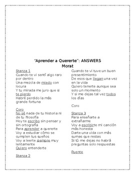 """""""Aprender a Quererte"""" by Morat - Song Cloze Listening and Spanish Stories"""